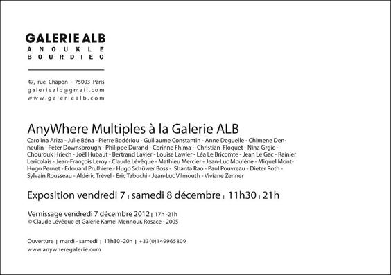 Viviane Zenner exposition, Paris, Galerie ALB Anouk Le Bourdiec, exposition de groupe