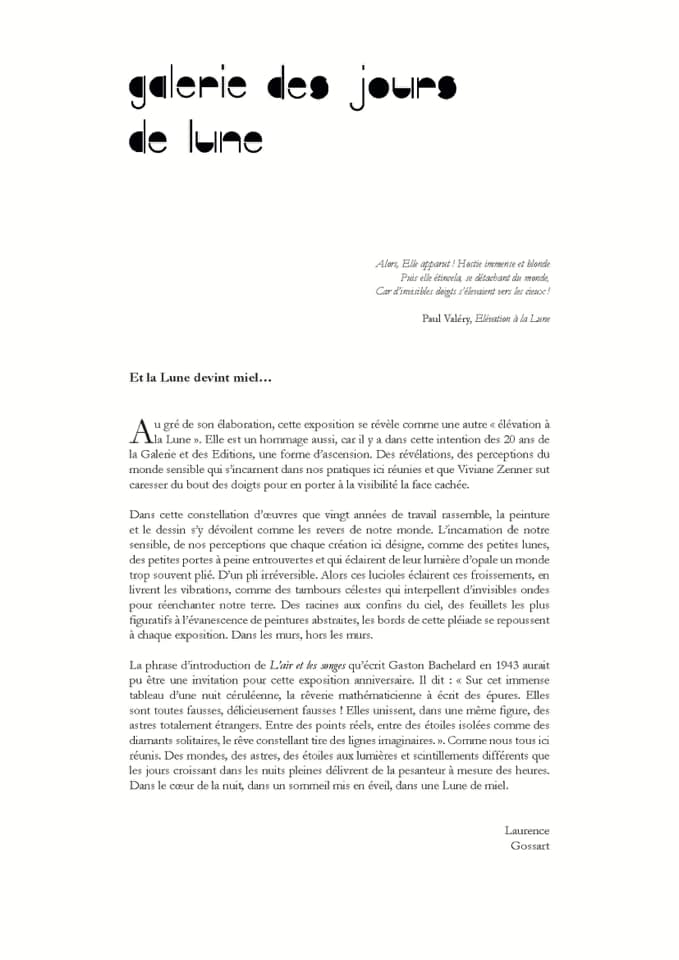 Viviane Zenner textes Laurence Gossart
